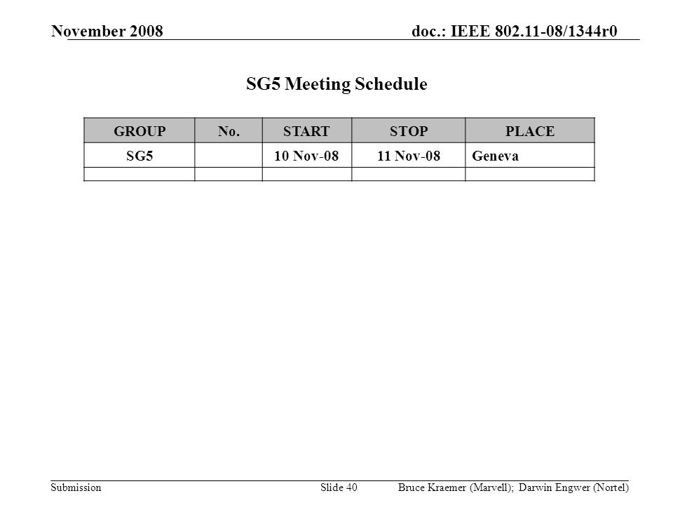 doc.: IEEE 802.11-08/1344r0 Submission November 2008 Bruce Kraemer (Marvell); Darwin Engwer (Nortel)Slide 40 SG5 Meeting Schedule GROUPNo.STARTSTOPPLACE SG5 10 Nov-0811 Nov-08Geneva