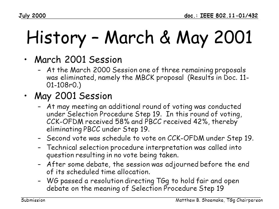 doc.: IEEE 802.11-01/432 Submission July 2000 Matthew B. Shoemake, TGg Chairperson History – March & May 2001 March 2001 Session –At the March 2000 Se