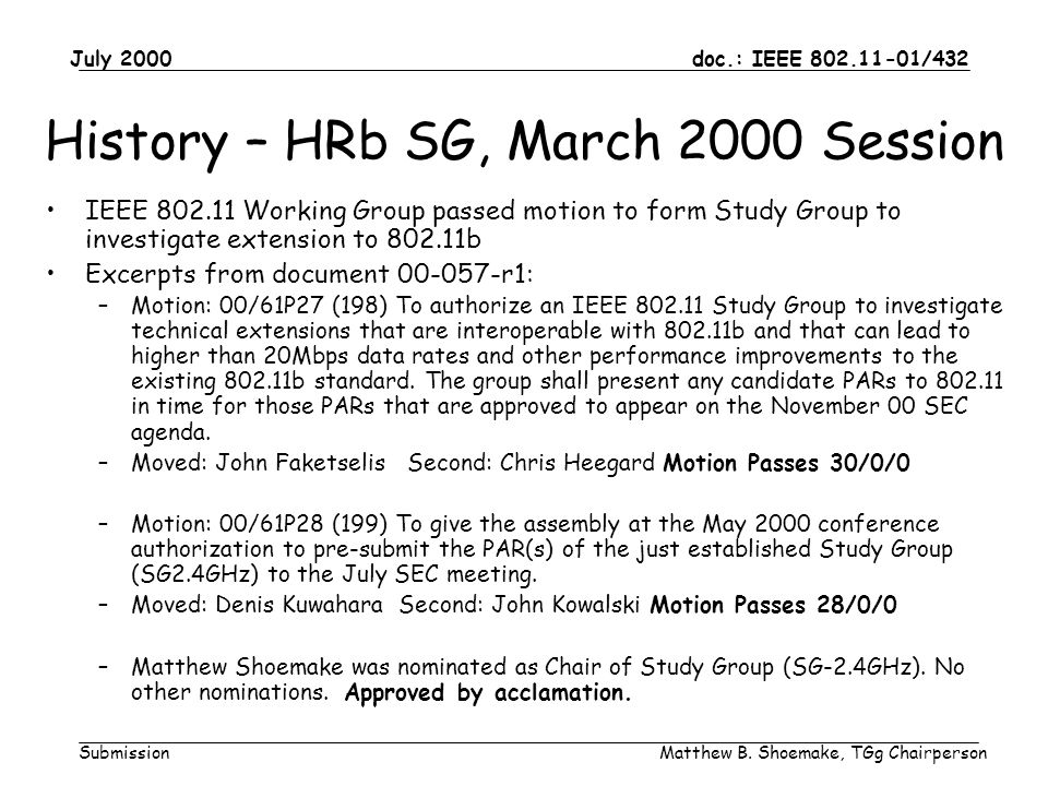 doc.: IEEE 802.11-01/432 Submission July 2000 Matthew B. Shoemake, TGg Chairperson History – HRb SG, March 2000 Session IEEE 802.11 Working Group pass