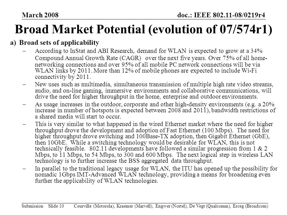 doc.: IEEE 802.11-08/0219r4 Submission March 2008 Courville (Motorola), Kraemer (Marvell), Engwer (Nortel), De Vegt (Qualcomm), Erceg (Broadcom)Slide 10 a)Broad sets of applicability –According to InStat and ABI Research, demand for WLAN is expected to grow at a 34% Compound Annual Growth Rate (CAGR) over the next five years.
