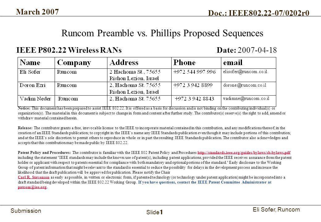 1Runcom Technologies Ltd. Submission Eli Sofer, Runcom March 2007 Doc.: IEEE802.22-07/0202r0 Slide 1 Runcom Preamble vs. Phillips Proposed Sequences I