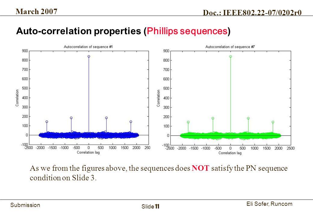 11Runcom Technologies Ltd. Submission Eli Sofer, Runcom March 2007 Doc.: IEEE802.22-07/0202r0 Slide 11 Auto-correlation properties ( Phillips sequence