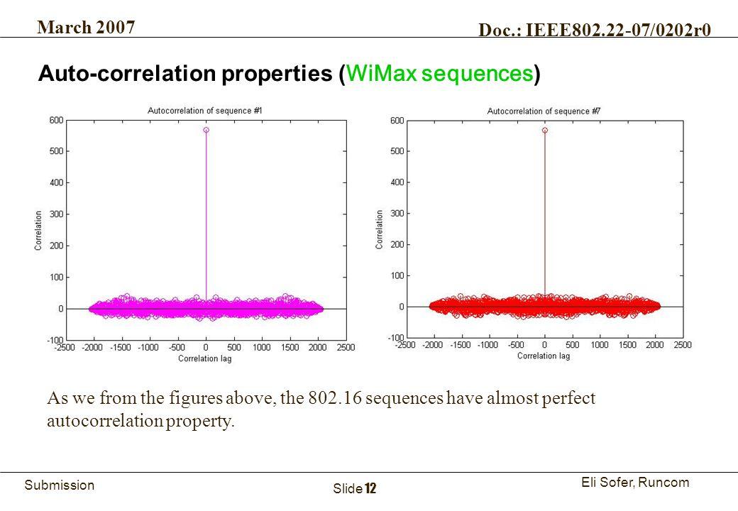 12Runcom Technologies Ltd. Submission Eli Sofer, Runcom March 2007 Doc.: IEEE802.22-07/0202r0 Slide 12 Auto-correlation properties ( WiMax sequences )