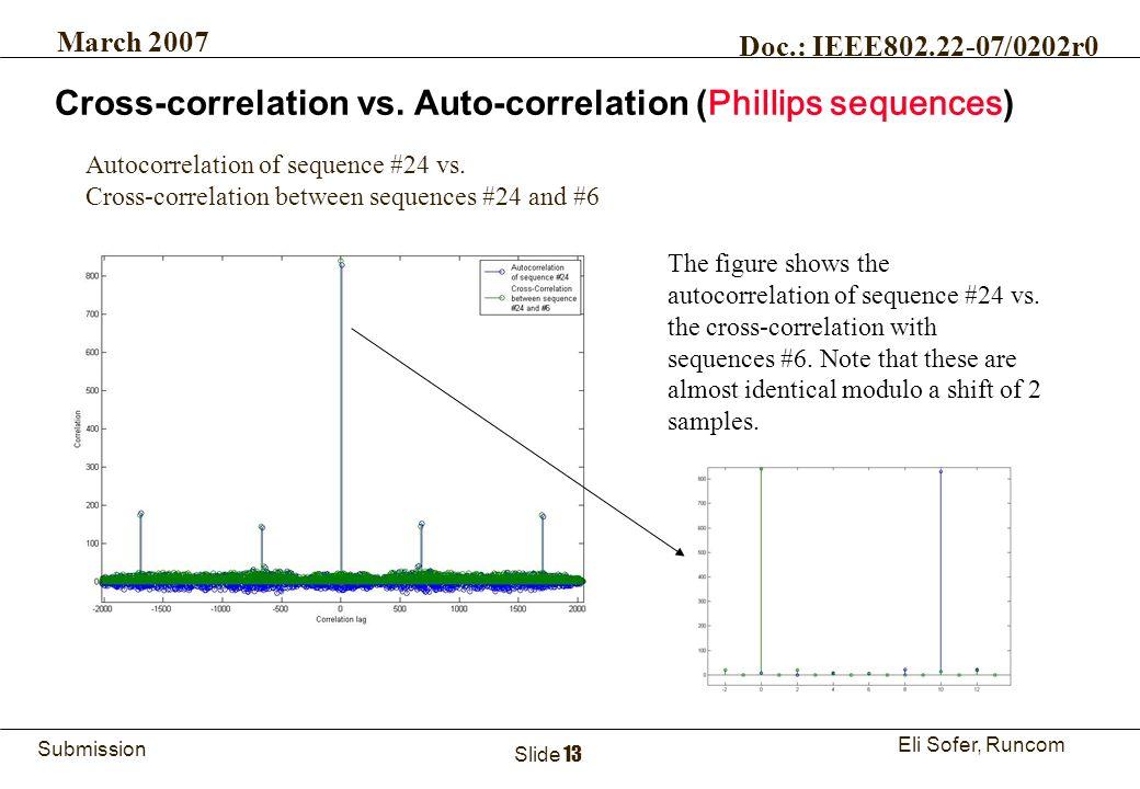 13Runcom Technologies Ltd. Submission Eli Sofer, Runcom March 2007 Doc.: IEEE802.22-07/0202r0 Slide 13 The figure shows the autocorrelation of sequenc