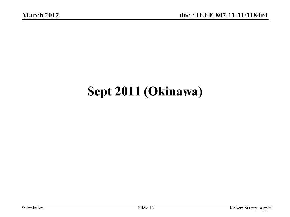 doc.: IEEE 802.11-11/1184r4 Submission March 2012 Robert Stacey, AppleSlide 15 Sept 2011 (Okinawa)