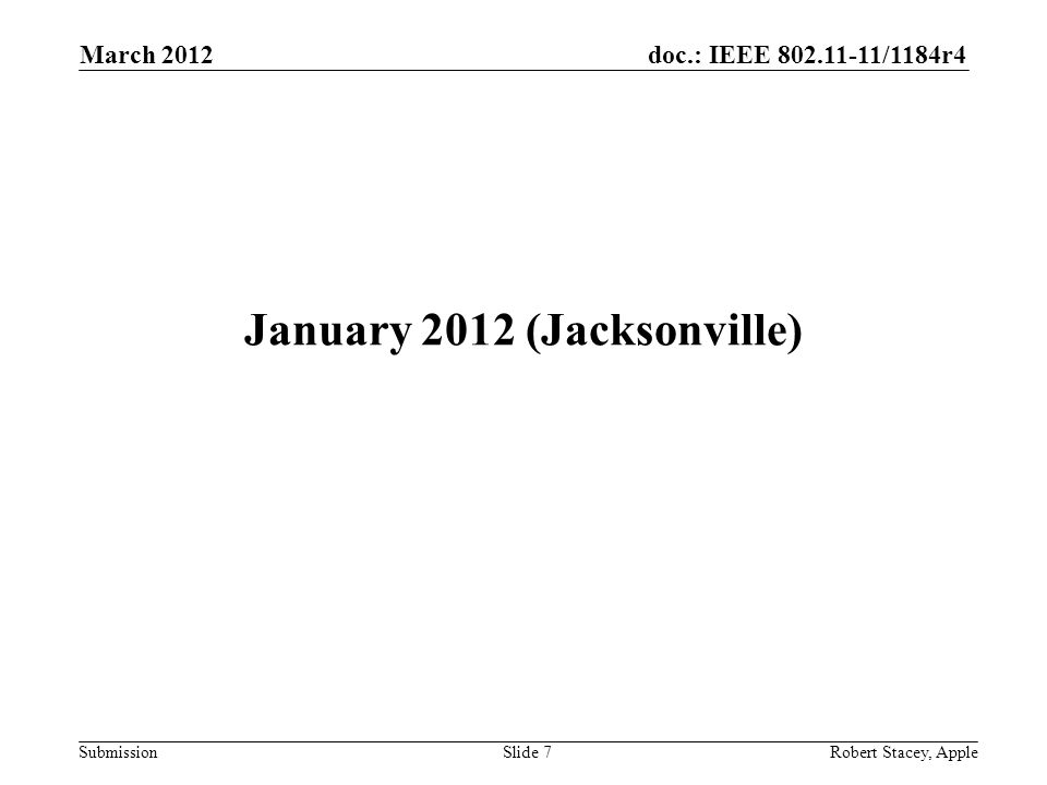 doc.: IEEE 802.11-11/1184r4 Submission March 2012 Robert Stacey, AppleSlide 7 January 2012 (Jacksonville)