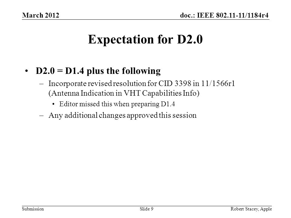 doc.: IEEE 802.11-11/1184r4 Submission Expectation for D2.0 D2.0 = D1.4 plus the following –Incorporate revised resolution for CID 3398 in 11/1566r1 (Antenna Indication in VHT Capabilities Info) Editor missed this when preparing D1.4 –Any additional changes approved this session March 2012 Robert Stacey, AppleSlide 9