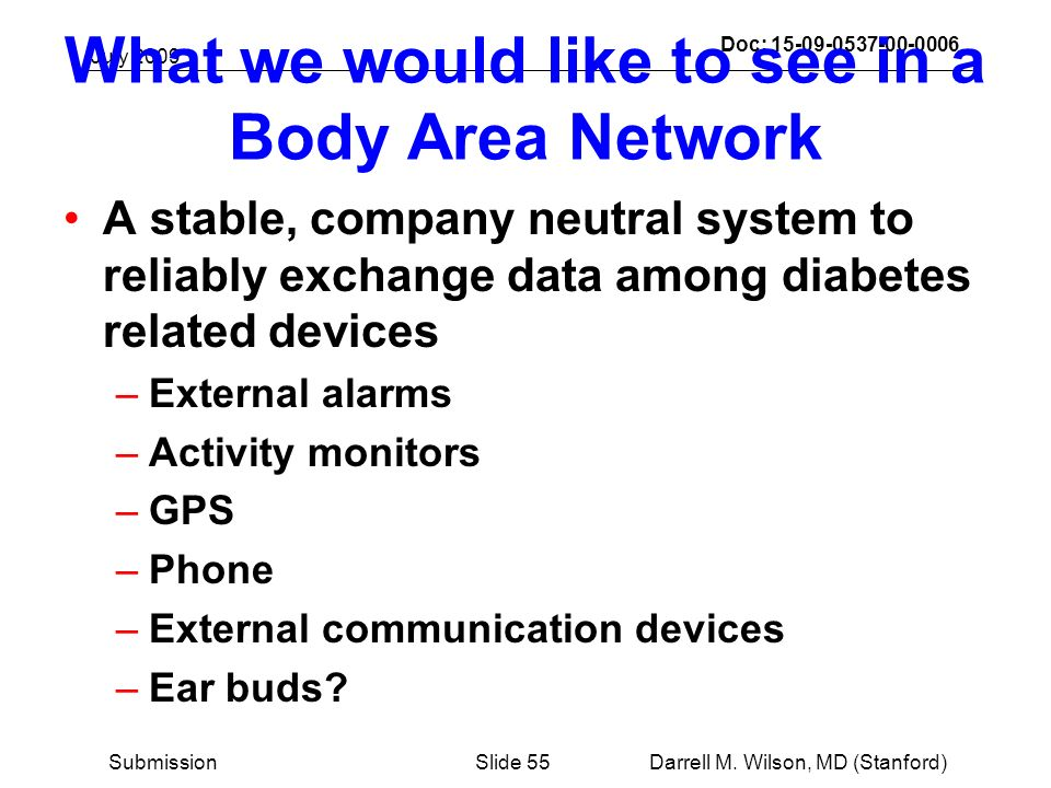 July 2009 Darrell M. Wilson, MD (Stanford)Slide 55Submission Doc: 15-09-0537-00-0006 What we would like to see in a Body Area Network A stable, compan