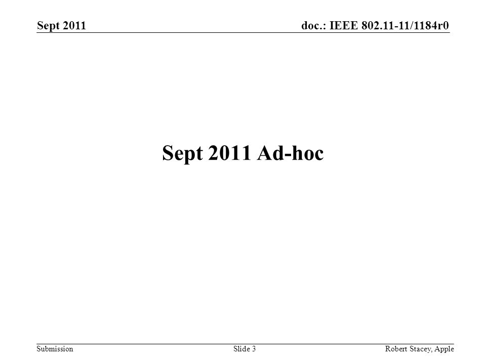 doc.: IEEE 802.11-11/1184r0 Submission Sept 2011 Robert Stacey, AppleSlide 3 Sept 2011 Ad-hoc