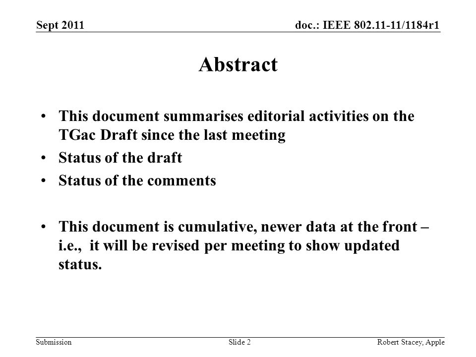doc.: IEEE 802.11-11/1184r1 Submission Sept 2011 Robert Stacey, AppleSlide 2 Abstract This document summarises editorial activities on the TGac Draft