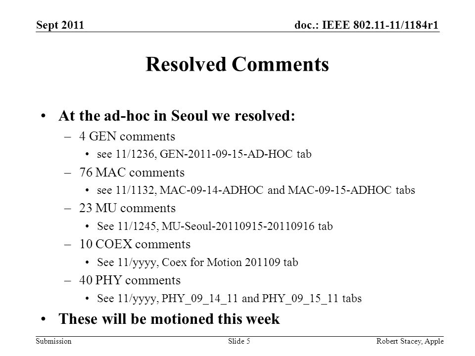 doc.: IEEE 802.11-11/1184r1 Submission Resolved Comments At the ad-hoc in Seoul we resolved: –4 GEN comments see 11/1236, GEN-2011-09-15-AD-HOC tab –7