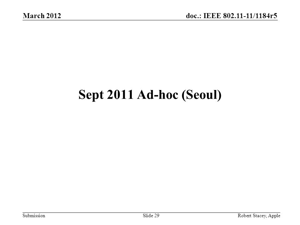 doc.: IEEE 802.11-11/1184r5 Submission March 2012 Robert Stacey, AppleSlide 29 Sept 2011 Ad-hoc (Seoul)