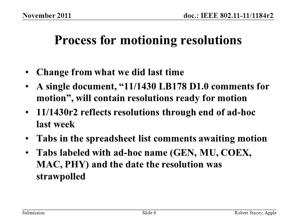 doc.: IEEE /1184r2 Submission Process for motioning resolutions Change from what we did last time A single document, 11/1430 LB178 D1.0 comments for motion, will contain resolutions ready for motion 11/1430r2 reflects resolutions through end of ad-hoc last week Tabs in the spreadsheet list comments awaiting motion Tabs labeled with ad-hoc name (GEN, MU, COEX, MAC, PHY) and the date the resolution was strawpolled November 2011 Robert Stacey, AppleSlide 6