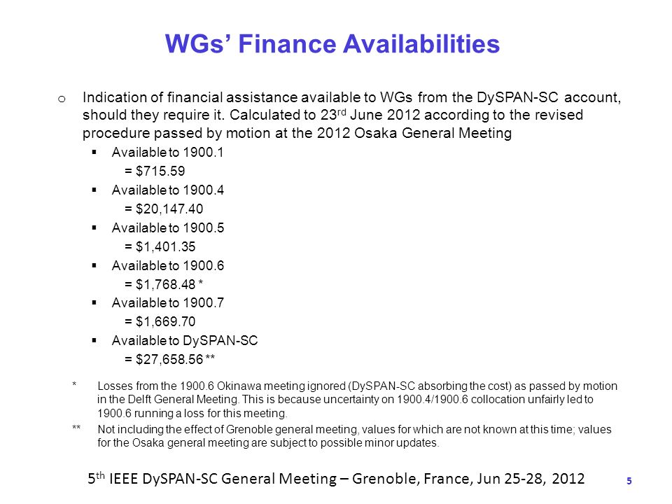 5 WGs Finance Availabilities o Indication of financial assistance available to WGs from the DySPAN-SC account, should they require it.