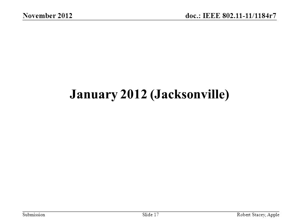 doc.: IEEE 802.11-11/1184r7 Submission November 2012 Robert Stacey, AppleSlide 17 January 2012 (Jacksonville)