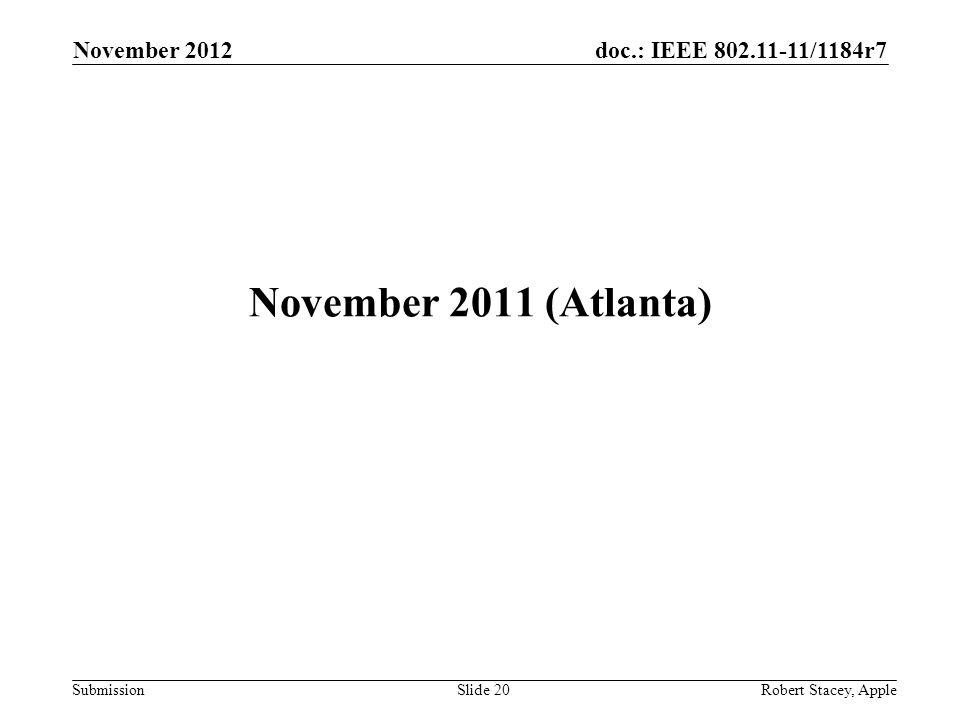 doc.: IEEE 802.11-11/1184r7 Submission November 2012 Robert Stacey, AppleSlide 20 November 2011 (Atlanta)