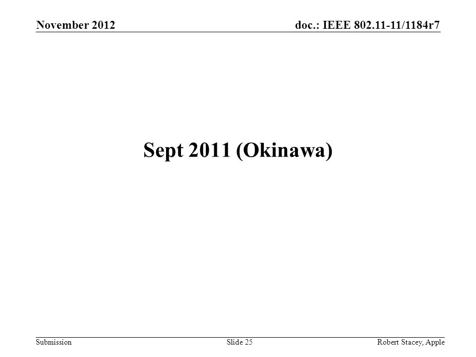 doc.: IEEE 802.11-11/1184r7 Submission November 2012 Robert Stacey, AppleSlide 25 Sept 2011 (Okinawa)