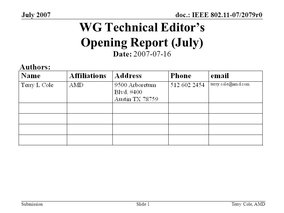 doc.: IEEE /2079r0 Submission July 2007 Terry Cole, AMDSlide 1 WG Technical Editors Opening Report (July) Date: Authors: