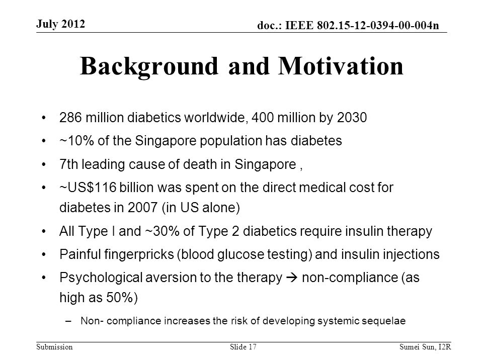 doc.: IEEE 802.15-12-0394-00-004n Submission 286 million diabetics worldwide, 400 million by 2030 ~10% of the Singapore population has diabetes 7th le