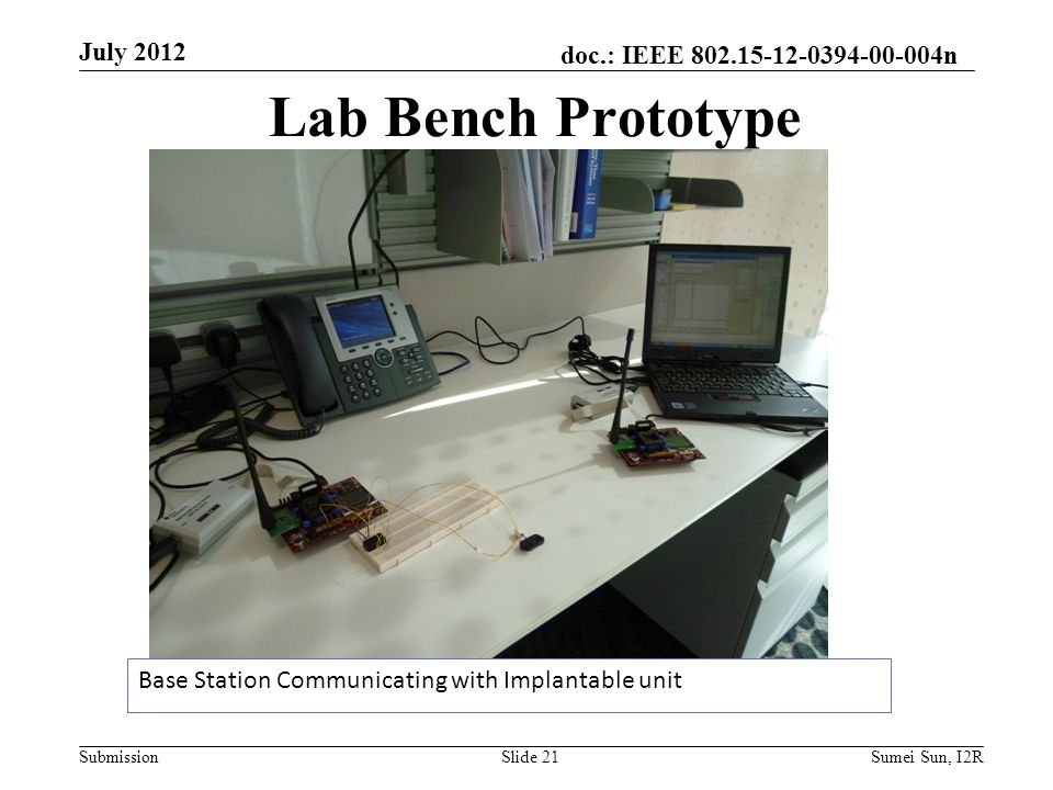 doc.: IEEE n Submission Lab Bench Prototype Base Station Communicating with Implantable unit July 2012 Slide 21Sumei Sun, I2R