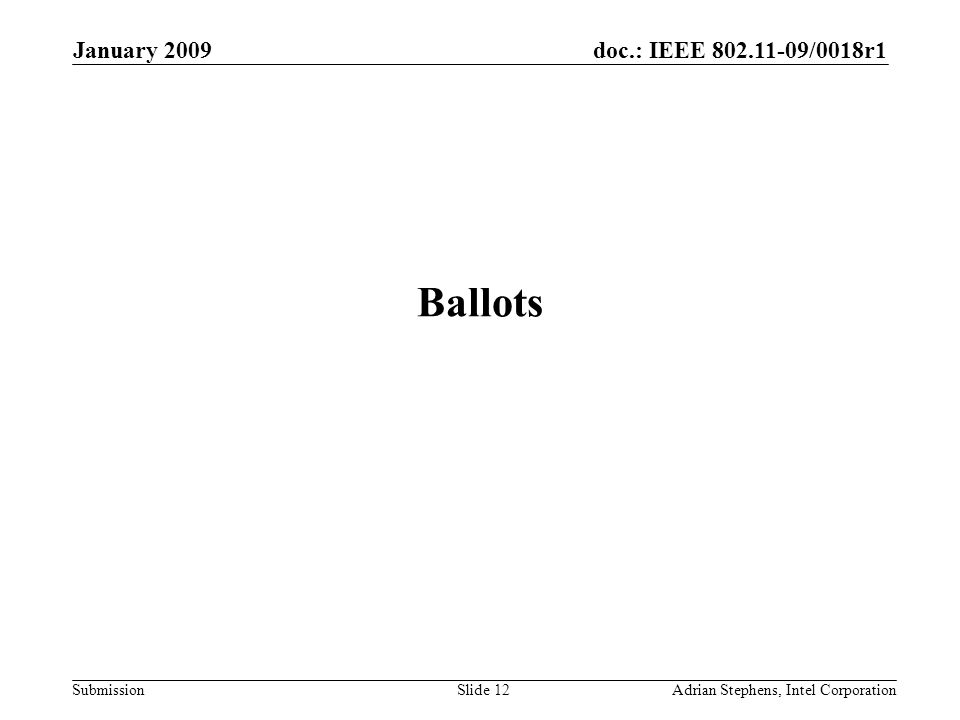doc.: IEEE 802.11-09/0018r1 Submission January 2009 Adrian Stephens, Intel CorporationSlide 12 Ballots