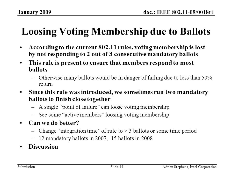 doc.: IEEE 802.11-09/0018r1 Submission January 2009 Adrian Stephens, Intel CorporationSlide 14 Loosing Voting Membership due to Ballots According to the current 802.11 rules, voting membership is lost by not responding to 2 out of 3 consecutive mandatory ballots This rule is present to ensure that members respond to most ballots –Otherwise many ballots would be in danger of failing due to less than 50% return Since this rule was introduced, we sometimes run two mandatory ballots to finish close together –A single point of failure can loose voting membership –See some active members loosing voting membership Can we do better.