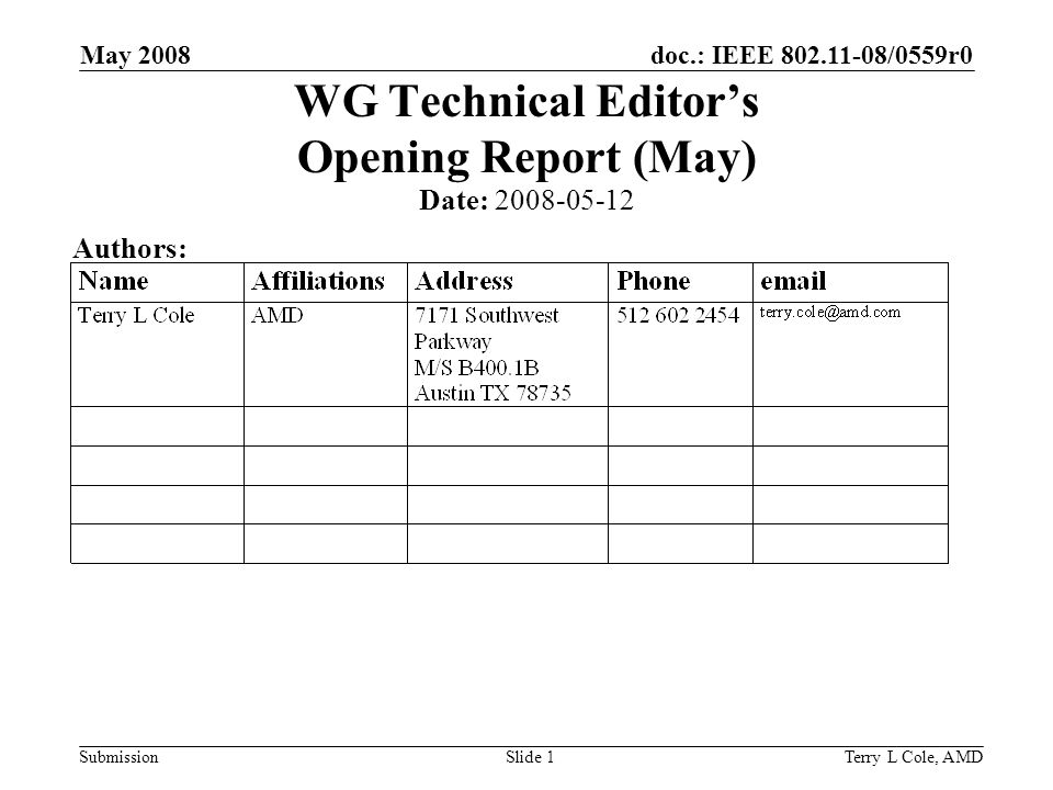 doc.: IEEE /0559r0 Submission May 2008 Terry L Cole, AMDSlide 1 WG Technical Editors Opening Report (May) Date: Authors: