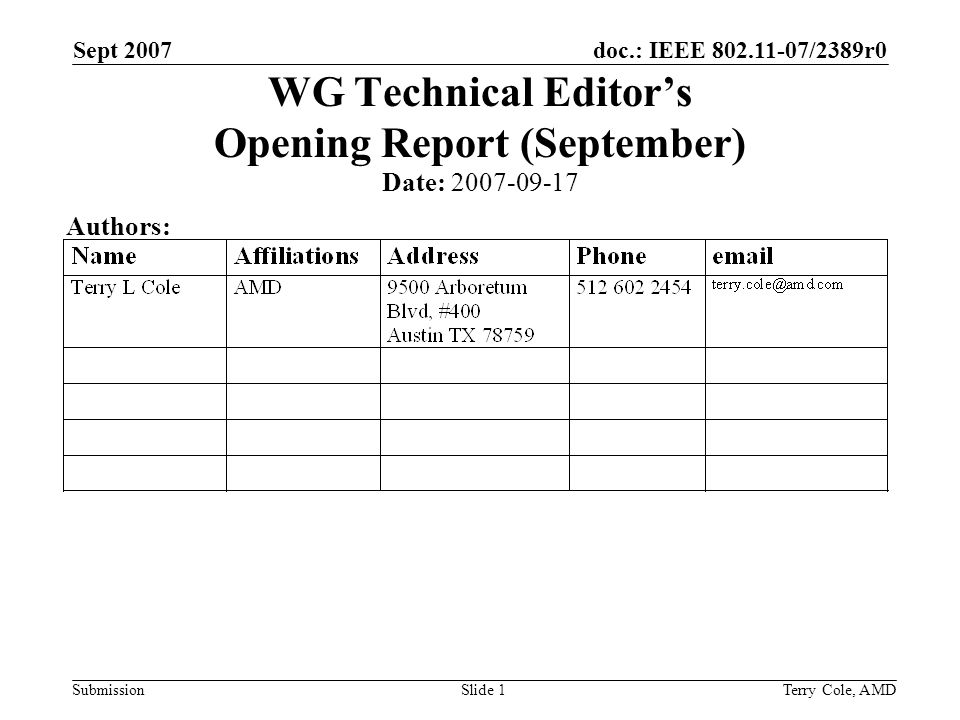 doc.: IEEE 802.11-07/2389r0 Submission Sept 2007 Terry Cole, AMDSlide 1 WG Technical Editors Opening Report (September) Date: 2007-09-17 Authors: