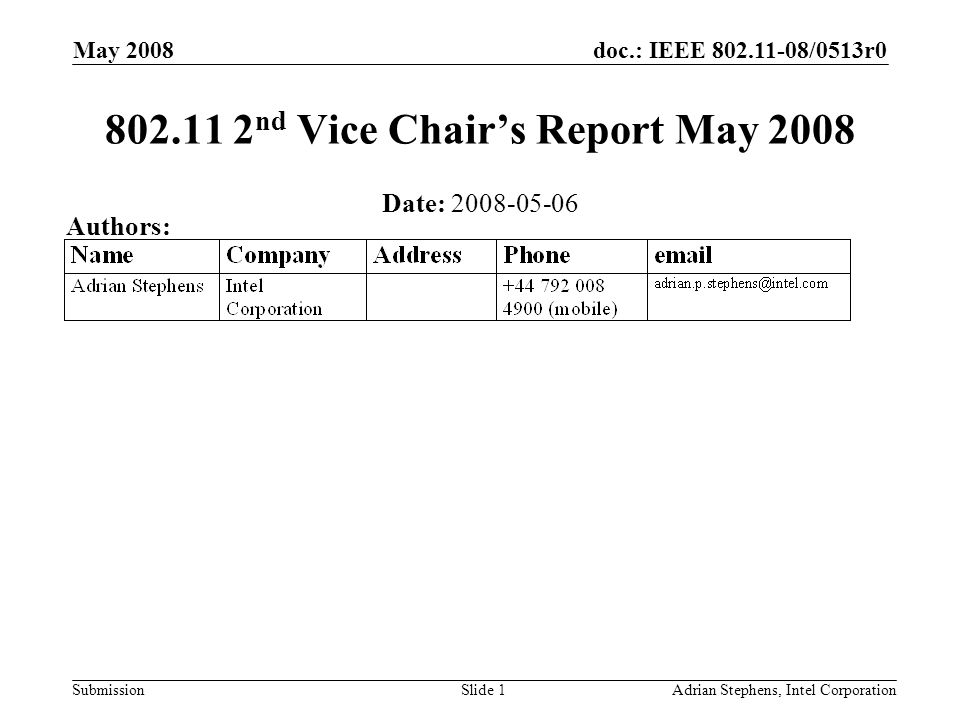 doc.: IEEE 802.11-08/0513r0 Submission May 2008 Adrian Stephens, Intel CorporationSlide 1 802.11 2 nd Vice Chairs Report May 2008 Date: 2008-05-06 Aut