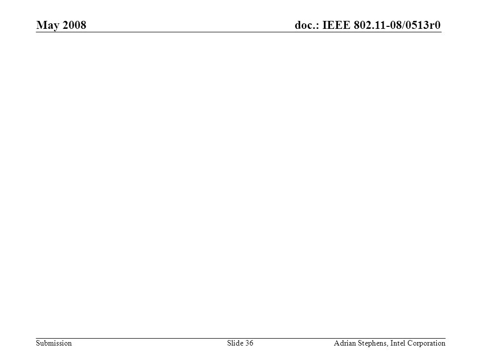 doc.: IEEE 802.11-08/0513r0 Submission May 2008 Adrian Stephens, Intel CorporationSlide 36