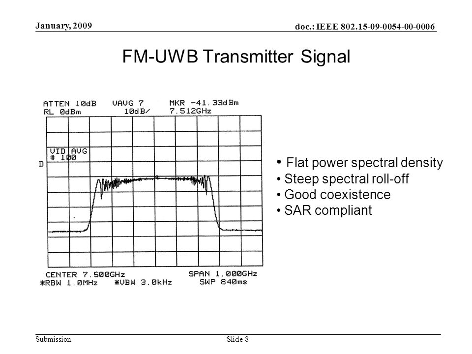 doc.: IEEE 802.15-09-0054-00-0006 Submission January, 2009 Slide 8 FM-UWB Transmitter Signal Flat power spectral density Steep spectral roll-off Good