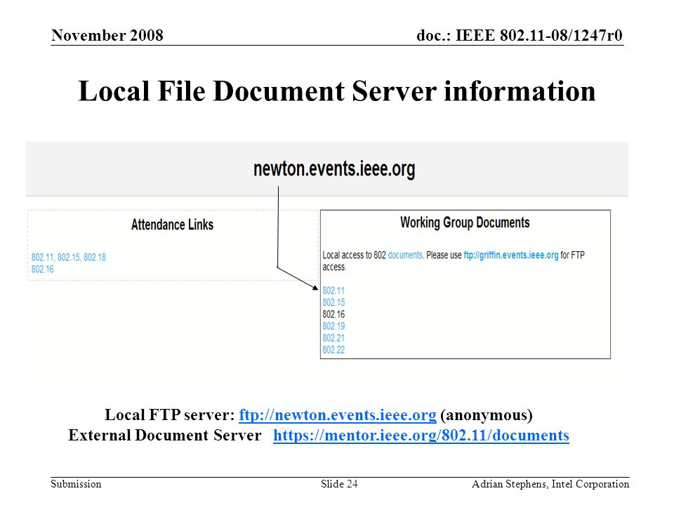 doc.: IEEE 802.11-08/1247r0 Submission November 2008 Adrian Stephens, Intel CorporationSlide 24 Local File Document Server information Local FTP server: ftp://newton.events.ieee.org (anonymous)ftp://newton.events.ieee.org External Document Server https://mentor.ieee.org/802.11/documentshttps://mentor.ieee.org/802.11/documents