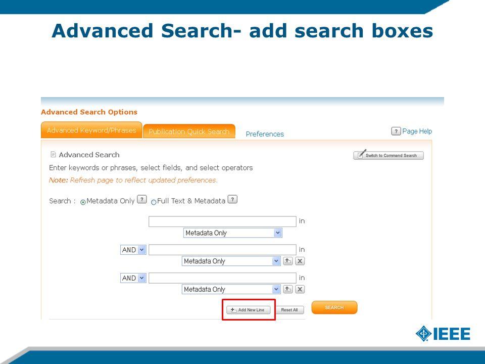 Advanced Search- add search boxes