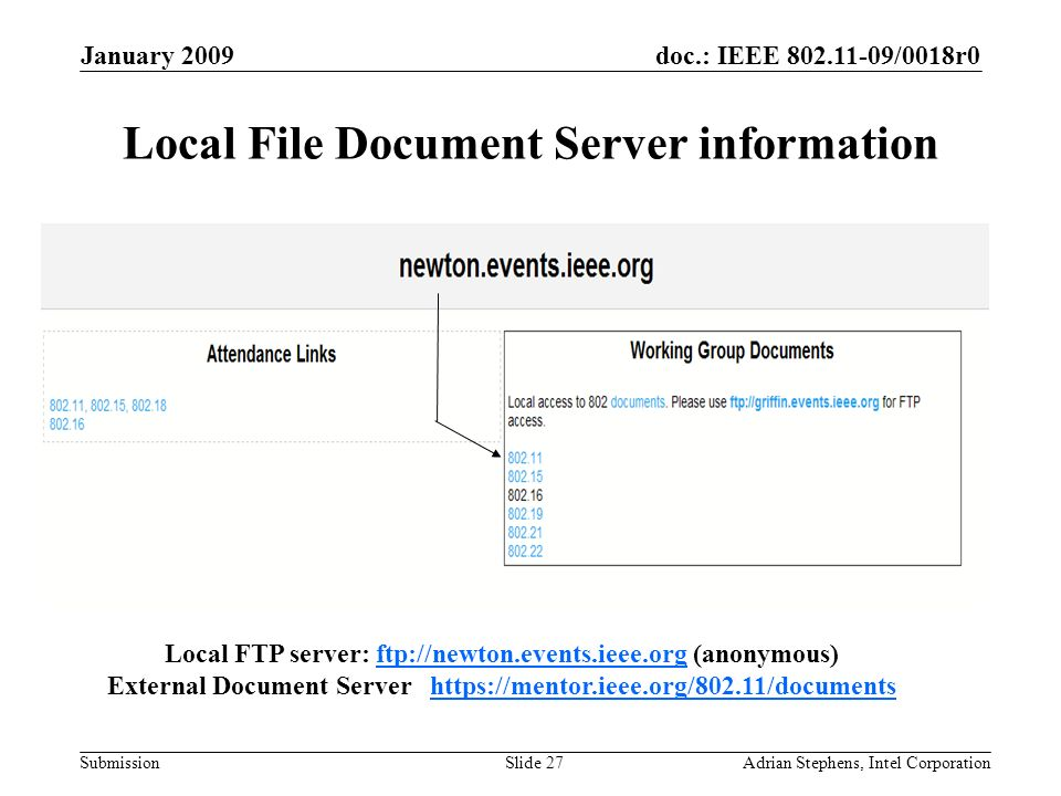 doc.: IEEE 802.11-09/0018r0 Submission January 2009 Adrian Stephens, Intel CorporationSlide 27 Local File Document Server information Local FTP server: ftp://newton.events.ieee.org (anonymous)ftp://newton.events.ieee.org External Document Server https://mentor.ieee.org/802.11/documentshttps://mentor.ieee.org/802.11/documents