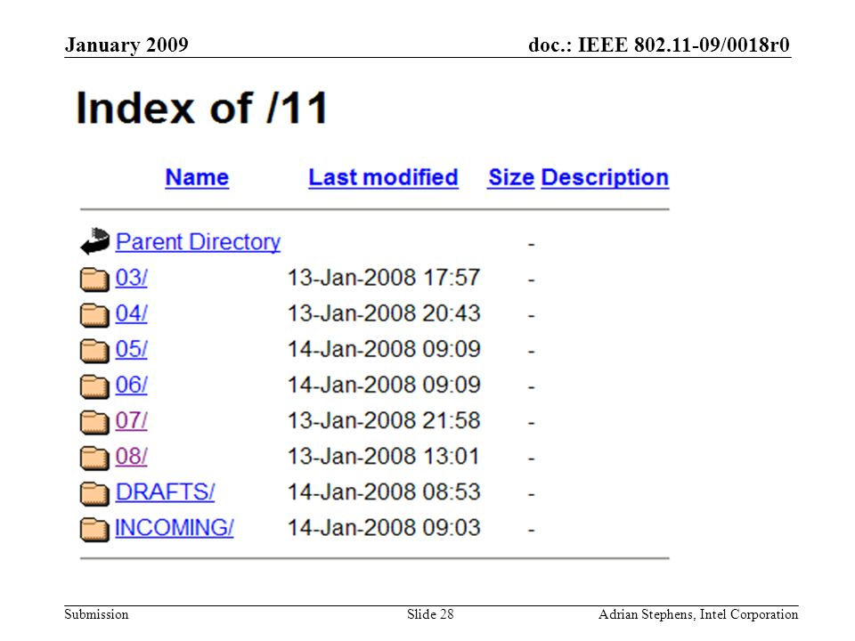 doc.: IEEE 802.11-09/0018r0 Submission January 2009 Adrian Stephens, Intel CorporationSlide 28