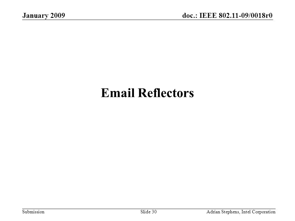 doc.: IEEE 802.11-09/0018r0 Submission January 2009 Adrian Stephens, Intel CorporationSlide 30 Email Reflectors