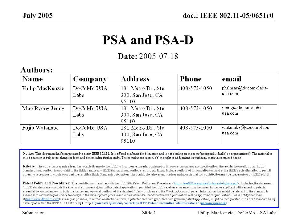 doc.: IEEE 802.11-05/0651r0 Submission July 2005 Philip MacKenzie, DoCoMo USA LabsSlide 2 Abstract We believe one of the goals of this group is to protect security associations, and it will require a more holistic approach than simply protecting individual management frames.