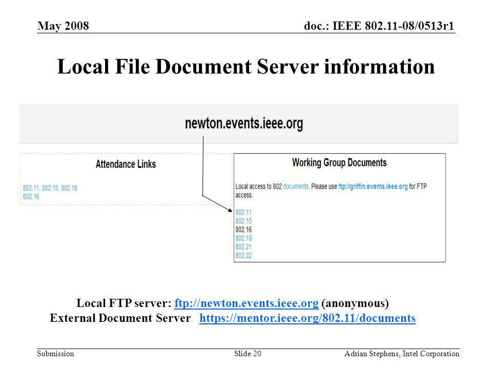 doc.: IEEE /0513r1 Submission May 2008 Adrian Stephens, Intel CorporationSlide 20 Local File Document Server information Local FTP server: ftp://newton.events.ieee.org (anonymous)ftp://newton.events.ieee.org External Document Server