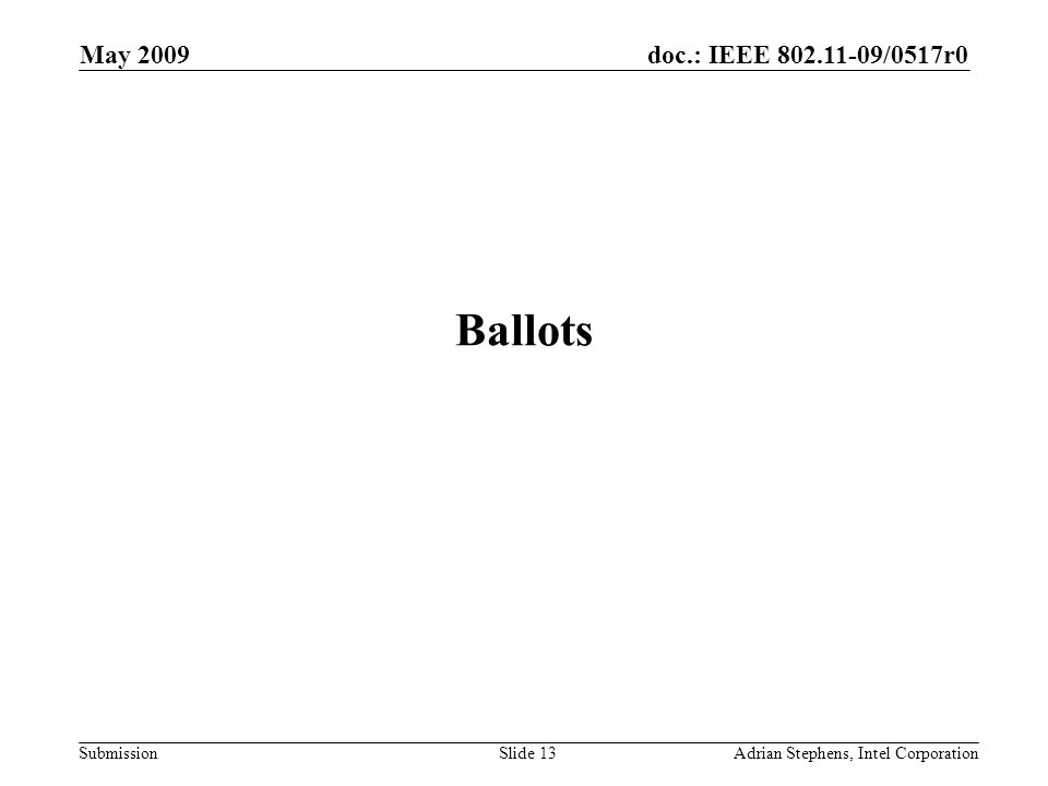 doc.: IEEE 802.11-09/0517r0 Submission May 2009 Adrian Stephens, Intel CorporationSlide 13 Ballots