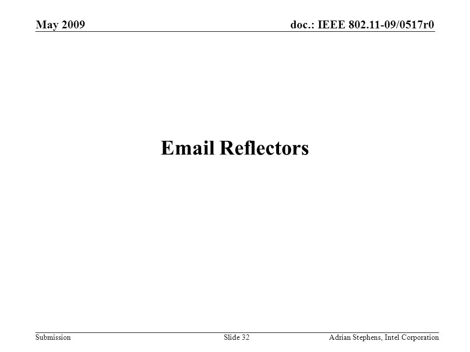 doc.: IEEE 802.11-09/0517r0 Submission May 2009 Adrian Stephens, Intel CorporationSlide 32 Email Reflectors