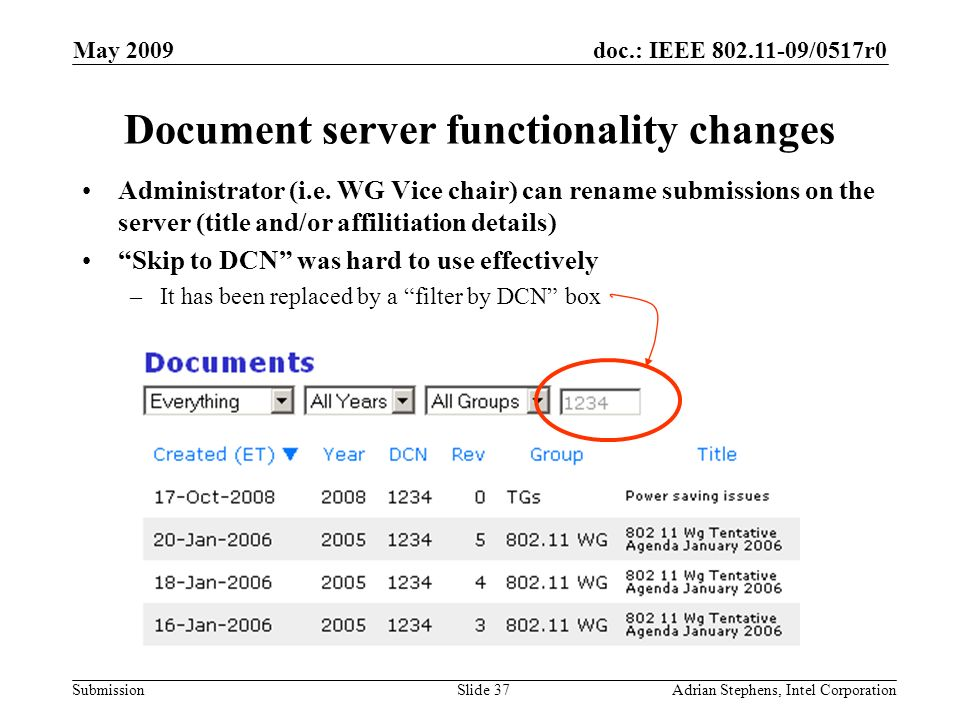 doc.: IEEE 802.11-09/0517r0 Submission May 2009 Adrian Stephens, Intel CorporationSlide 37 Document server functionality changes Administrator (i.e. W
