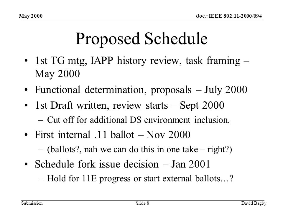 doc.: IEEE 802.11-2000/094 Submission May 2000 David BagbySlide 8 Proposed Schedule 1st TG mtg, IAPP history review, task framing – May 2000 Functional determination, proposals – July 2000 1st Draft written, review starts – Sept 2000 –Cut off for additional DS environment inclusion.