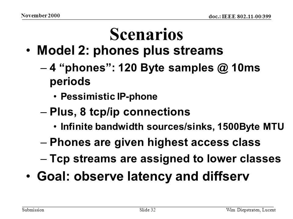 doc.: IEEE 802.11-00/399 Submission November 2000 Wim Diepstraten, LucentSlide 32 Scenarios Model 2: phones plus streams –4 phones: 120 Byte samples @ 10ms periods Pessimistic IP-phone –Plus, 8 tcp/ip connections Infinite bandwidth sources/sinks, 1500Byte MTU –Phones are given highest access class –Tcp streams are assigned to lower classes Goal: observe latency and diffserv