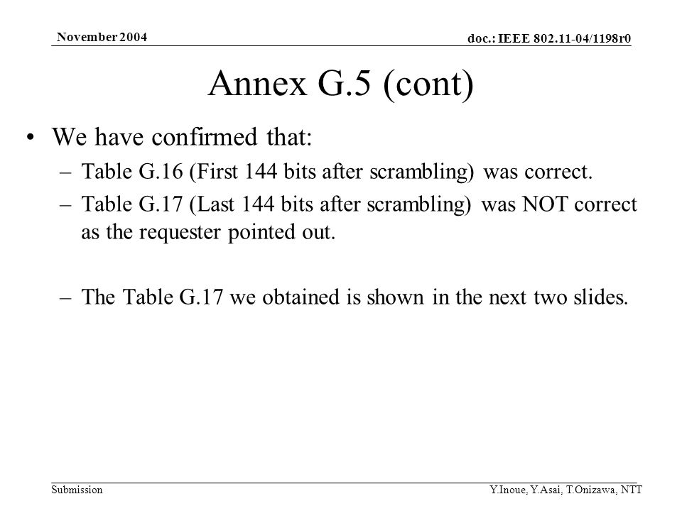 doc.: IEEE 802.11-04/1198r0 Submission November 2004 Y.Inoue, Y.Asai, T.Onizawa, NTT Annex G.5 (cont) We have confirmed that: –Table G.16 (First 144 bits after scrambling) was correct.