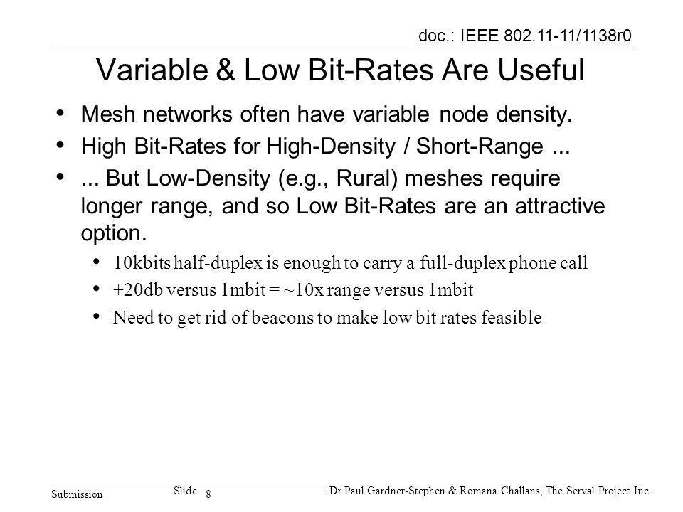 8 doc.: IEEE 802.11-11/1138r0 Submission SlideDr Paul Gardner-Stephen & Romana Challans, The Serval Project Inc. Variable & Low Bit-Rates Are Useful M