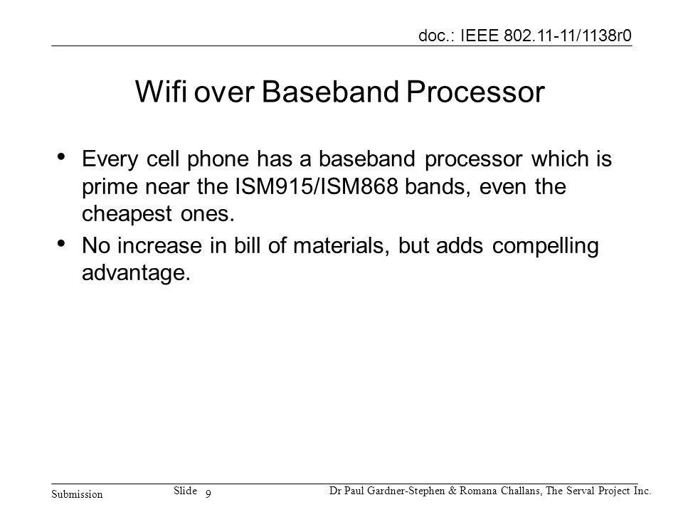 9 doc.: IEEE 802.11-11/1138r0 Submission SlideDr Paul Gardner-Stephen & Romana Challans, The Serval Project Inc. Wifi over Baseband Processor Every ce