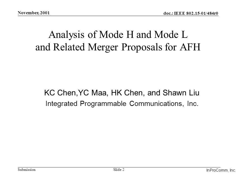 Integrated Programmable Communications, Inc. November, 2001 doc.: IEEE 802.15-01/484r0 Submission Slide 2 InProComm, Inc. Analysis of Mode H and Mode