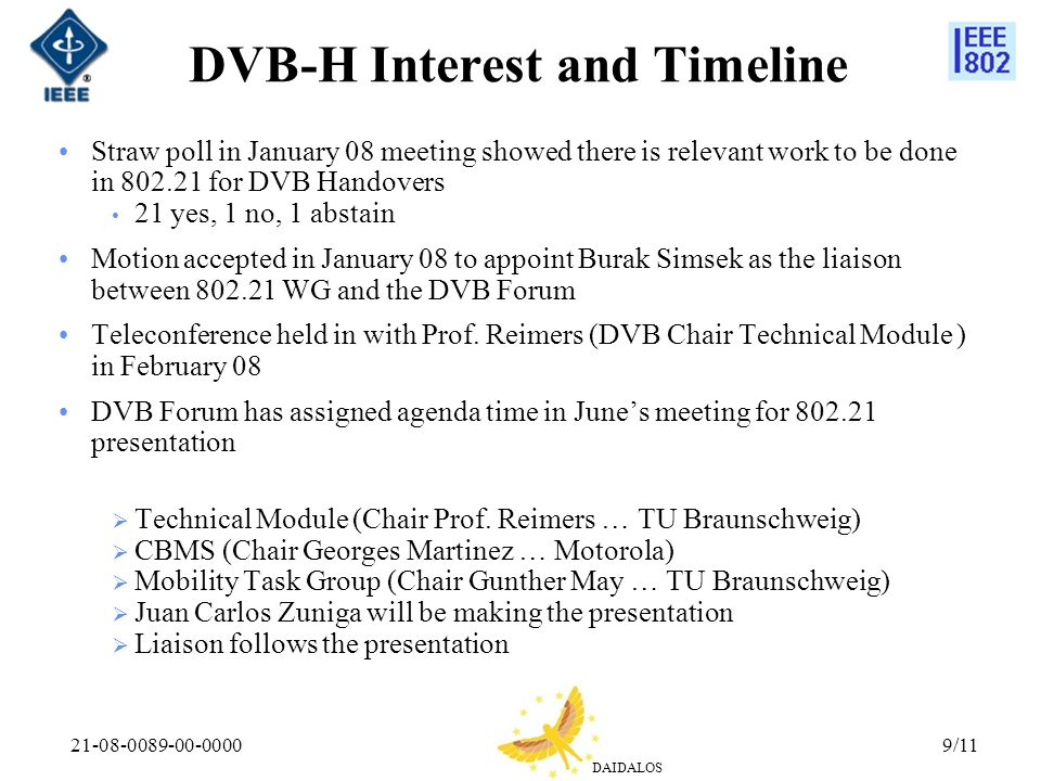 DAIDALOS 21-08-0089-00-00009/11 DVB-H Interest and Timeline Straw poll in January 08 meeting showed there is relevant work to be done in 802.21 for DV