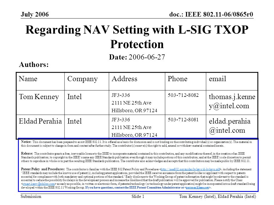 doc.: IEEE 802.11-06/0865r0 Submission July 2006 Tom Kenney (Intel), Eldad Perahia (Intel)Slide 1 Regarding NAV Setting with L-SIG TXOP Protection Not