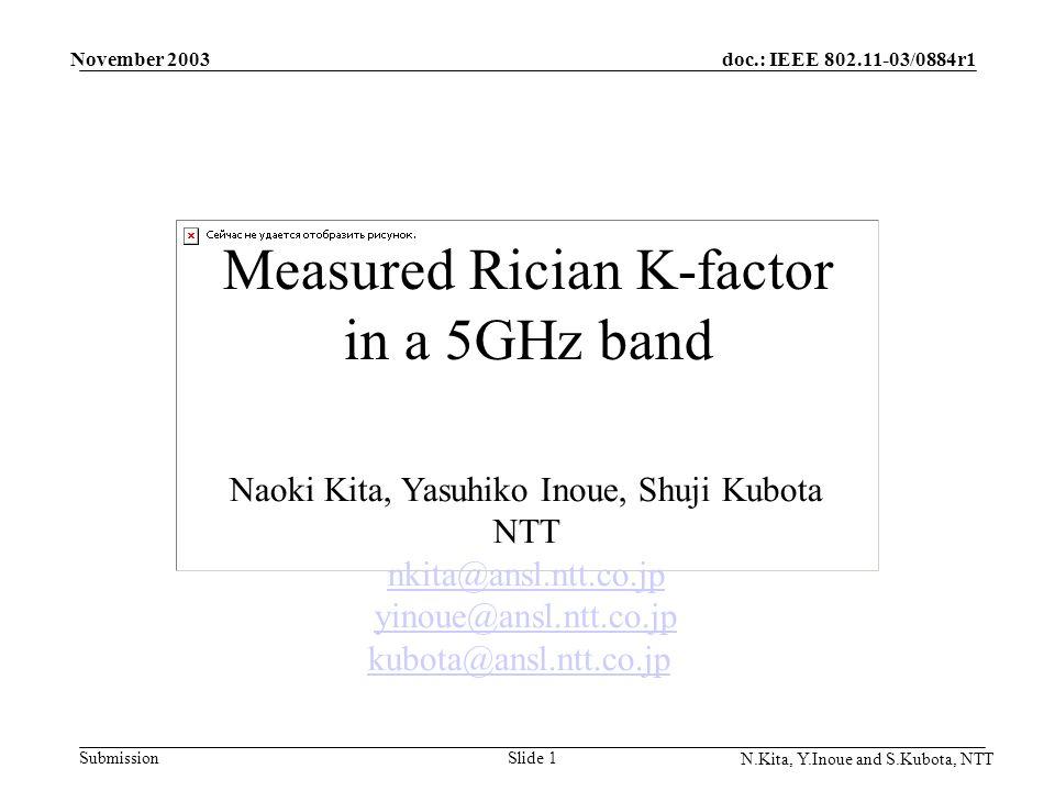 doc.: IEEE 802.11-03/0884r1 Submission November 2003 N.Kita, Y.Inoue and S.Kubota, NTT Slide 1 Measured Rician K-factor in a 5GHz band Naoki Kita, Yasuhiko Inoue, Shuji Kubota NTT nkita@ansl.ntt.co.jp yinoue@ansl.ntt.co.jp kubota@ansl.ntt.co.jp